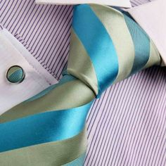 Amazon.com: Green silk ties men formal dark turquoise Stripes Woven Silk Tie Cufflinks Gift Box Set Y Relax Necktie Set A7009: Clothing