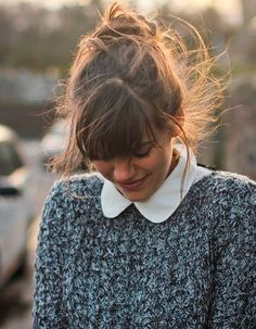 Fancy - Chemise en popeline à col rond Hairstyles With Bangs, Cool Hairstyles, Full Fringe Hairstyles, Bangs Hairstyle, Hair Inspo, Hair Inspiration, Dicker Pony, Round Collar Shirt, Collar Blouse