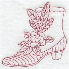 ... Designs at Embroidery Library! - Victorian Boot and Rose (Redwork