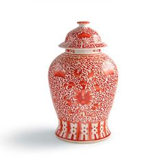 Coral and White Chinoiserie Flower Jar