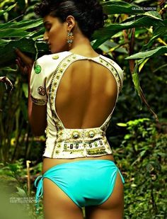 Bikini bum and backless blouse. #indian #inspired