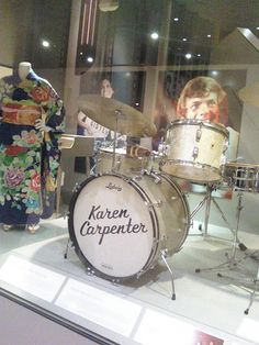 "A rare shot of the CPAC display during the period they displayed the Carpenters' kimonos from Japan. A lady from CPAC said the cases were too full and the kimonos eventually removed. chicks-with-sticks: "" Karen Carpenter's Drum Set """