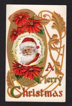 Christmas Postcard Portrait of Traditional Santa Poinsettia Gold Leaves | eBay