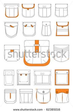 collection of pockets - stock vector