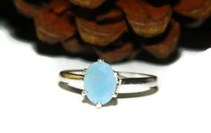 Peruvian Blue Opal Ring Baby Blue Oval by JewelrybyDecember67