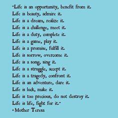 Mother Teresa Poem : Life