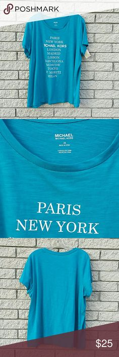 Michael Kors Top  2X   NWT Cute and comfortable t shirt. 100 % cotton.  Fun t shirt, perfect with shorts! MICHAEL Michael Kors Tops Tees - Short Sleeve