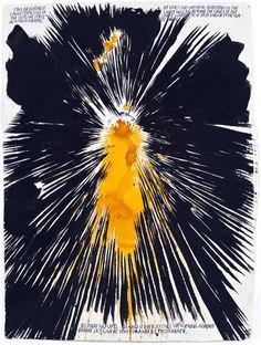Een werk van Raymond Pettibon, gevonden op http://contemporary-art-blog.com/page/9. Het is wat abstract. Maar ik vond het intrigerend. Vind het lijken op een soort 'uitbarsting', wat weer te maken heeft met mijn dark side. De kleur in het midden doet me denken aan vuur en felheid. Het zwart zorgt voor een mooi contrast. Dit verbeeld dus een soort woede uitbarsting in mijn ogen. Ik heb geen titel/jaartal kunnen vinden met image search. Alleen maar de kunstenaar (hij komt wel naar boven).