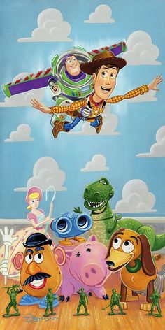 Did you hear that #DisneyWorld opened #ToyStoryLand at #HollywoodStudios? We're super excited to go sometime! If you're a #ToyStory fan, you'll love #TimRogerson's work that depicts favorites like #BuzzLightyear, #Woody, #MrPotatoHead, #Slinky, and #Hamm. This classic cast of characters deserves to be displayed with love in your home!  #disney #artinsights #animation #animationart #DisneyFineArt