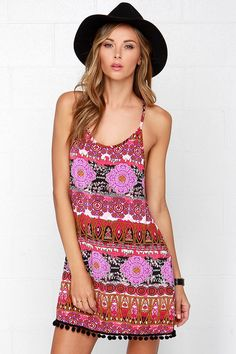 Lucy Love Pool Party Fuchsia Print Dress