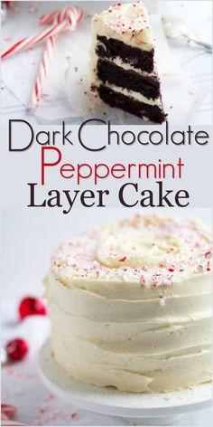 Dark Chocolate Peppermint Layer Cake