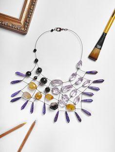 #loranikolova #bijoux&art #necklace #colors #art #madeinitaly #abstract #style Bead Jewellery, Crystal Jewelry, Jewelry Art, Beaded Jewelry, Jewelery, Handmade Jewelry, Jewelry Necklaces, Jewelry Design, Modern Jewelry