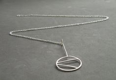 Sterling Silver Abstract  Pendant Necklace Long Necklace Modern Contemporary Necklace by SteamyLab
