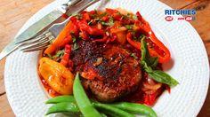 Paprika steak with pepperonata sauce
