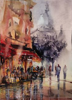 Aquarelle Montmartre. Nicolas Jolly. Original painting for sale on my website : http://nicolasjolly.net/originals-for-sale/