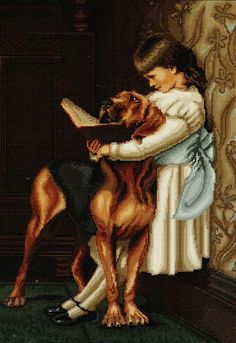 A sweet picture of an Edwardian girl with a great dane. Sweet Picture, Tapestry Kits, Cross Stitch, The Incredibles, Black And White, Canvas, Prints, Art, Tela
