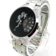 Unique Dragon Quartz Wrist Watch Turntable Dial Mens Clock Hours Silver Q0843