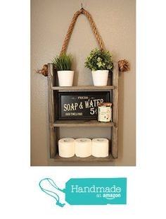 Rustic Wood & Rope Ladder Shelf - Bathroom Storage - Cabin Home Decor - Medicine Cabinet - Toilet Paper Holder from Knotty By Nature Decor https://www.amazon.com/dp/B01M35KUYJ/ref=hnd_sw_r_pi_dp_k1NoybM7DP1KW #handmadeatamazon