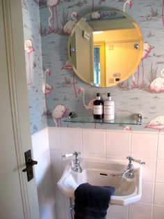 Flamingo wallpaper in under stairs loo. Flamingo wallpaper in under stairs loo. New Bathroom Wallpaper, Wallpaper Toilet, Flamingo Wallpaper, Grey Bathroom Tiles, Bathroom Vanity Units, White Vanity Bathroom, Grey Bathrooms, Modern Bathroom, Small Bathroom