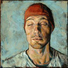Daniel Barkley, Red Cap, 2007 acrylic on canvas/acrylique sur toile 26 x 26 cm, x Figure Painting, Painting & Drawing, Art Des Gens, L'art Du Portrait, Portrait Paintings, Master Of Fine Arts, Inspiration Art, People Art, Beautiful Paintings