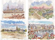 Lot Cities of Brittany original glicée prints 4 painting