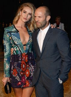 April 16 - Rosie and Jason Statham attend the Burberry 'London in Los Angeles' event at Griffith Observatory Rosie And Jason, Jason Statham And Rosie, Rose Huntington, Rosie Huntington Whiteley, Turtleneck Suit, Jason Statham Rosie Huntington, Jason Stratham, Tall Women, Editorial Fashion