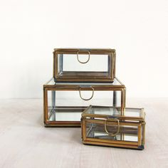 glass mirror boxes - set of 3 Mirror Box, Glass Boxes, Decorative Objects, Home Accents, Contemporary Design, Urban, Table, Tables, Desk