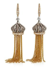 Annoushka Gold Touch Wood Diamond And Ebony Tassel Drop Earrings Tassel Drop Earrings, Statement Earrings, Silver Earrings, Annoushka, Touch Of Gold, Carat Gold, Designer Earrings, Gold Chains, Solid Gold