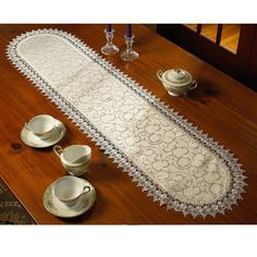 Violet Linen Flower Bow Embroidered Lace Vintage Table Runner ( 14x36)