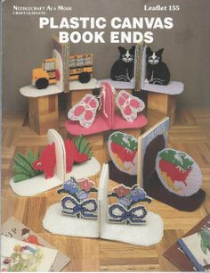 Plastic Canvas Book Ends - Needlecraft Ala Mode Leaflet 155 - Bookends