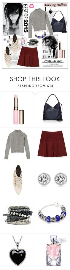 """""""stocking stuffers"""" by fashiontake-out ❤ liked on Polyvore featuring Clarins, Rebecca Minkoff, Michael Kors, H&M, Lord & Taylor, Lancôme, Topshop, miniskirts, tophandlebags and anklestrapstilettos"""