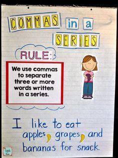Commas in a Series Anchor Chart. Perfect for first grade standards!
