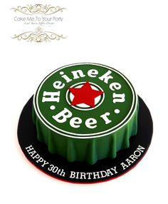 Heineken Beer Cap Cake - Cake by Leah Jeffery Beer Cookies, Dad Birthday Cakes, 30th Birthday, Cap Cake, Fathers Day Cake, Surprise Cake, Beer Caps, Character Cakes, Cakes For Men
