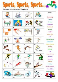Can you identify these sports? Learn here or have a look at all the Olympic sports Where do you go to practise them? English Teaching Materials, Learning English For Kids, Kids English, English Lessons, Teaching English, Learn English, English Grammar Worksheets, English Verbs, Vocabulary Worksheets