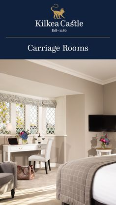 Each Carriage Room offers a luxury stay under the watchful eye of our century Castle. Lodge Bedroom, Castle Bedroom, Castle Hotels In Ireland, Castles In Ireland, 12th Century, Lodges, Dining Bench, Bedrooms, Eye
