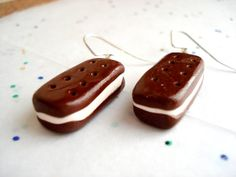 Miniature Ice Cream Sandwich Earrings Polymer Clay Food Jewelry