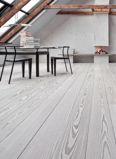 Love the natural wood pattern of this gray engineered flooring
