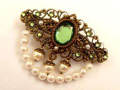 Edle Haarspange in Antik Stil in grün bronze weiß von Schmucktruhe