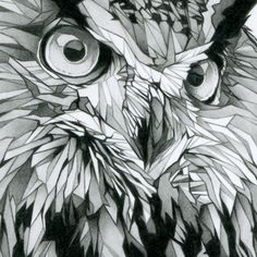 Cool use of geometric shapes! - black and white pencil drawing of an owl