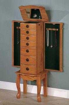 Classic Oak Finish Jewelry Armoire by Coaster  http://www.cccstores.com/classic-oak-jewelry-armoire-coaster-900135.html