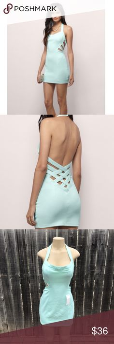 🆕women's mint dress w/crisscross back Women's mint crisscross back dress Size: large  Material: 94% polyester, 6% elastane  Smoke free and pet free  Ships same or next business day  Condition: three small spots on the front near the chest Dresses Backless