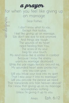 a prayer for when you feel like giving up on your marriage