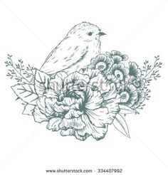 bird and flowers drawing - Google Search