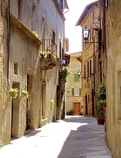Pienza street scene, province of Siena, Tuscany region itly