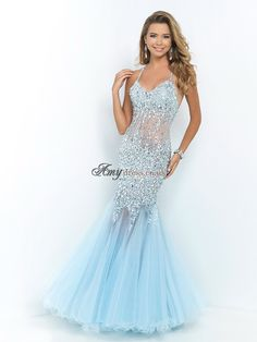 BLUSH PROM 9702 Ice Blue Rock the Red Carpet! This sexy gown rocks as beads, stones and jewels slim your silhouette. The beaded straps crisscross your open back. Illusion defines your midrift and shapes your swirled hem. Prom Dresses 2016, Prom Dresses Blue, Bridal Dresses, Bridesmaid Dresses, Formal Dresses, Dresses Uk, Grad Dresses, Long Dresses, Dress Long