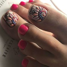 Fun nails, pretty toe nails, glitter toe nails, pink toe nails, g Glitter Toe Nails, Pink Toe Nails, Pretty Toe Nails, Toe Nail Color, Cute Toe Nails, Feet Nails, Toe Nail Art, Nail Colors, Pedicure Nail Art