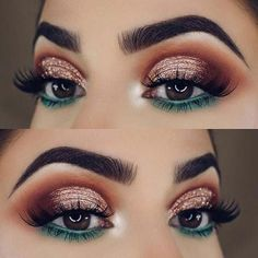 23 Glam Makeup Ideas for Christmas 2017 Festive Gold and Green Eye Makeup Look for Christmas *** more on beauty and skin care at www.thebeautyinfo… The post 23 Glam Makeup Ideas for Christmas 2017 appeared first on Best Shared. Under Eye Makeup, Eye Makeup Tips, Makeup Goals, Makeup Inspo, Makeup Inspiration, Hair Makeup, Makeup Ideas, Teal Eye Makeup, Makeup Tutorials