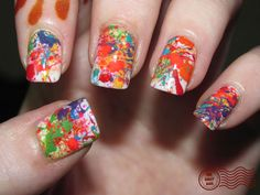 Splatter nails.. paint white... Add a little nail polish remover to the colors you want... Splatter on to nails