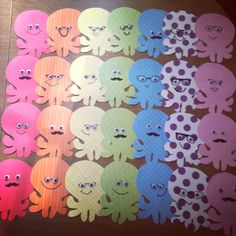 octopus door decs with glasses and mustaches!