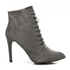 Dámské boty na podpatku Benetnasch šedé – šedá Netradičním botám se  šněrováním se nic nevyrovná! dca3da8637